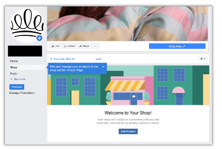 En oprettede facebook shop