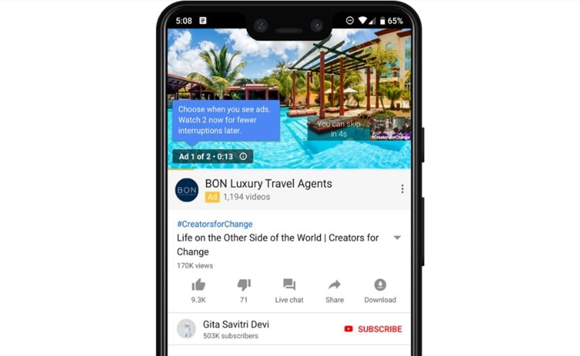 Youtube annoncering mobile